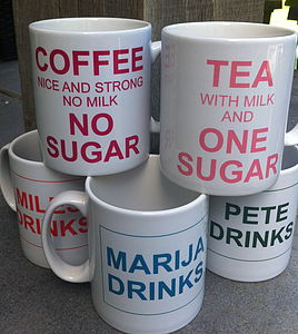 PERSONALISED 'WHAT DO YOU LIKE TO DRINK' MUG - tableware