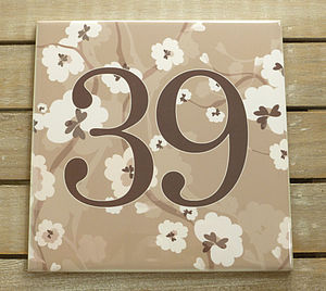 House Number Ceramic Sign Flower Blossom