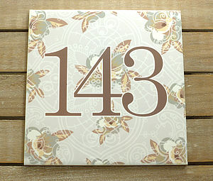 House Number Ceramic Sign Vintage Floral