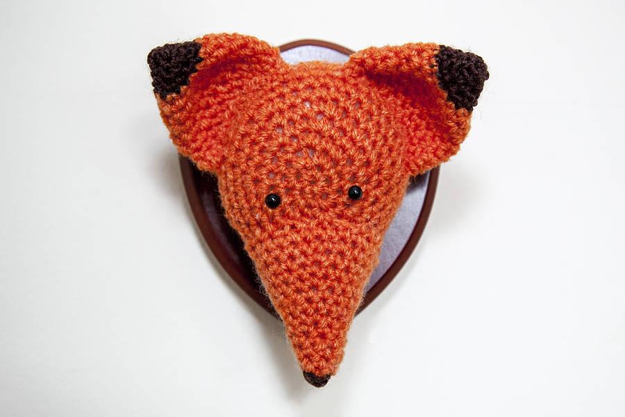 Crocheted Orange Fox Head