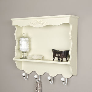 Ivory Wooden Wall Storage Cabinet With Hooks - shelves