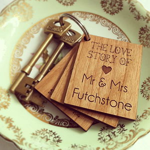Personalised Love Story Key Ring - anniversary gifts