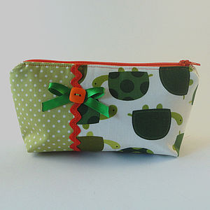 Tortoise And Polka Dot Fabric Makeup Bag - make-up & wash bags