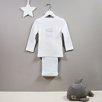 Personalised Aeroplane Applique Baby Pyjamas