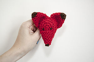 Crocheted Red Fox Brooch