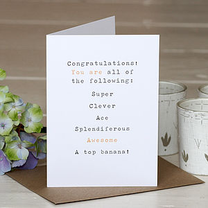'Congratulations' Greetings Card - exam congratulations gifts