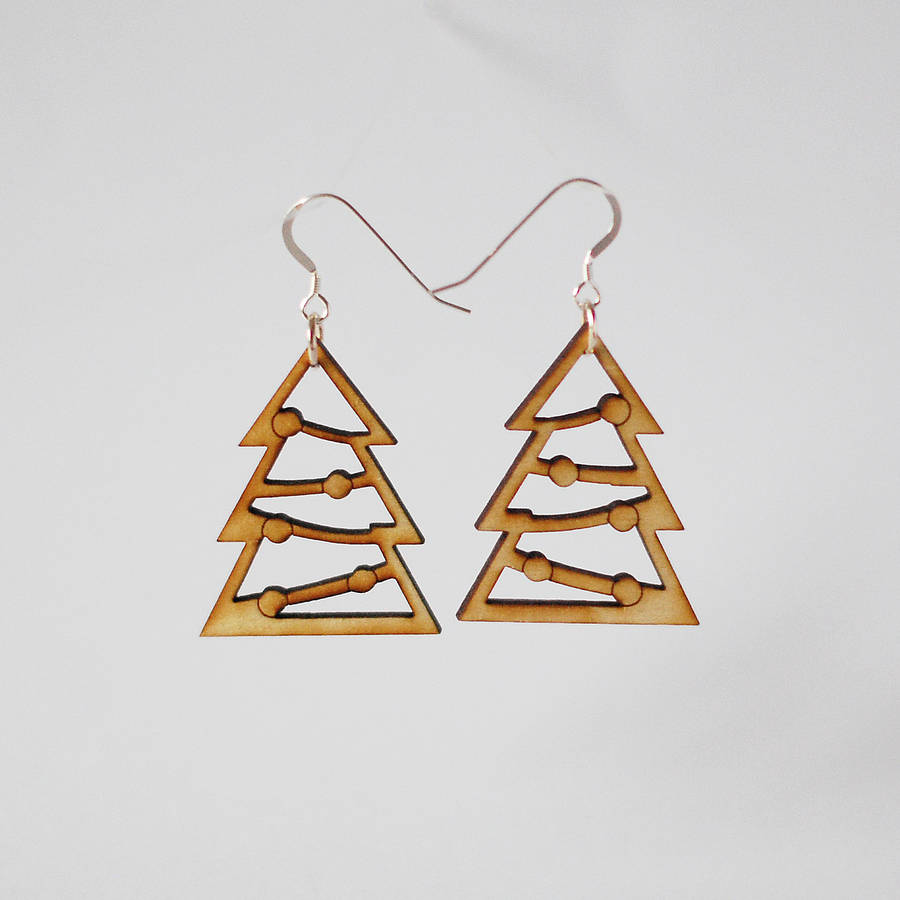 Wooden Christmas Tree Earrings