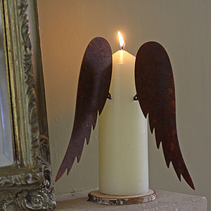 Rusty Angel Wings For Candle - table decorations