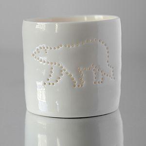 Porcelain Polar Bear Tea Light - christmas home accessories