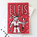 Elfis Hand Printed Christmas Card
