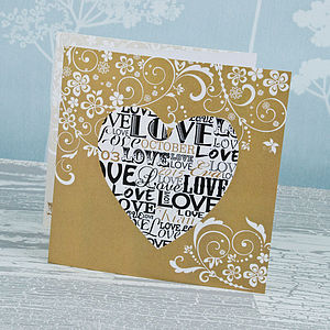 Love Heart Three Fold Wedding Invitation - wedding cards & wrap