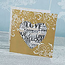 Love Heart Three Fold Wedding Invitation