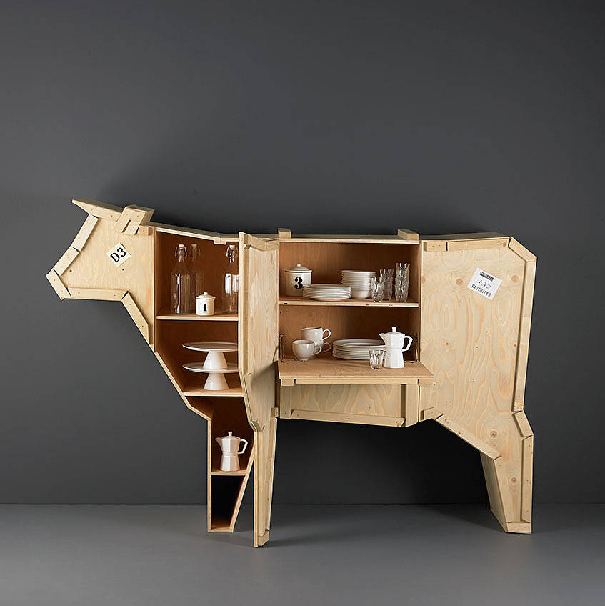 Wooden cow sideboard by lime lace Creative wooden furniture