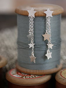 Handmade Silver Dangly Star Earrings