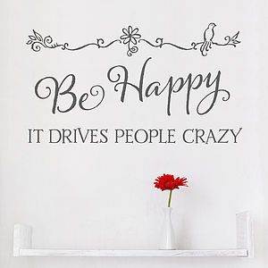 'Be Happy' Wall Sticker Inspirational Quote