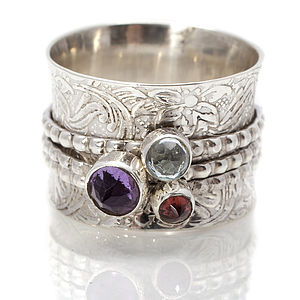 Handmade Gemstone Silver Spinning Ring - rings