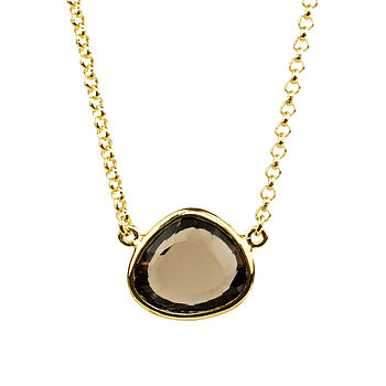 Cressida Necklace Smoky Quartz And Gold