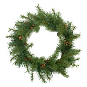 Artificial Pine And Cone Wreath - flowers & plants