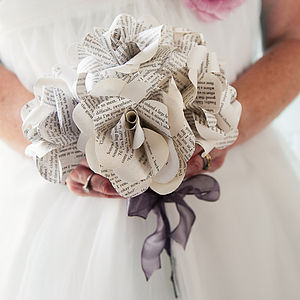 Hand Tied Six Literary Paper Roses Bouquet - flowers