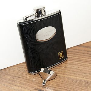 Leather Personalised S.Steel Hip Flask - drink & barware