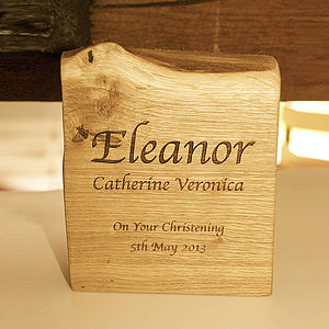 Personalised Solid Oak Christening Plaque - living room