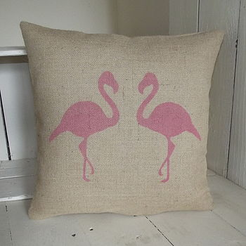 Rustic Hessian Flamingo Cushion