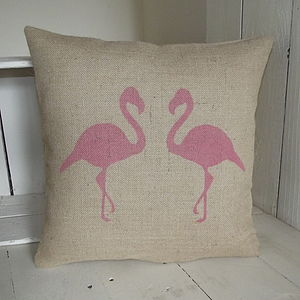 ' Flamingo ' Hessian Cushion