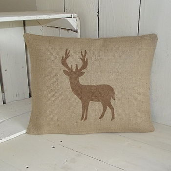 Standing Deer Hessian Cushion