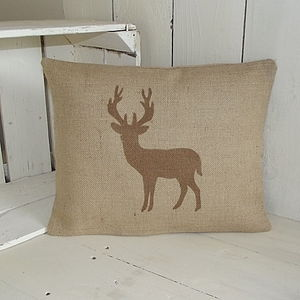 ' Standing Deer ' Hessian Cushion - cushions