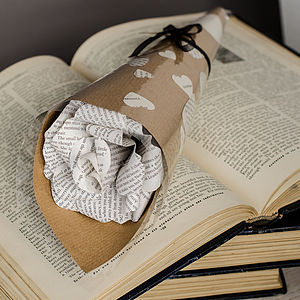 Wrapped Literary Paper Rose - flowers, plants & vases