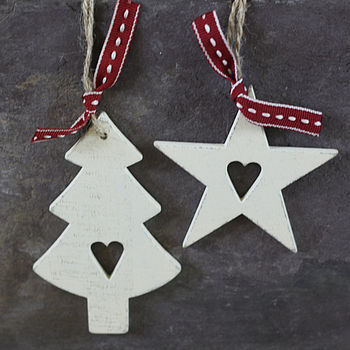Whitewashed Wooden Star Tree Decorations