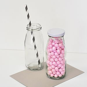 Vintage Style Milk Bottle - favour bags, bottles & boxes