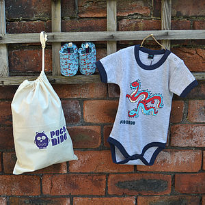 Baby Gift Set With Dragon First Shoes - clothing