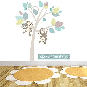 Monkey Tree Fabric Wall Stickers - children's room accessories