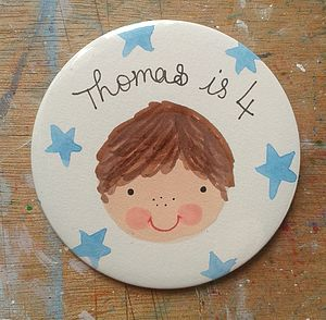 Personalised Boy's Birthday Badge - children's parties