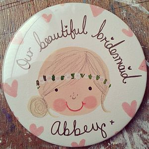 Personalised Bridesmaid/Flower Girl Badge - wedding thank you gifts
