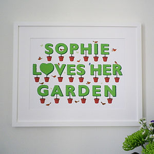 Personalised I Love My Garden Print