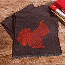 Squirrel Print Lambswool Scarf