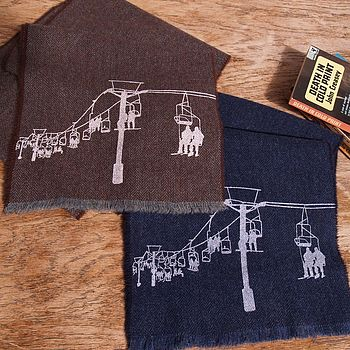 Ski Lift Print Lambswool Scarf Personalisable
