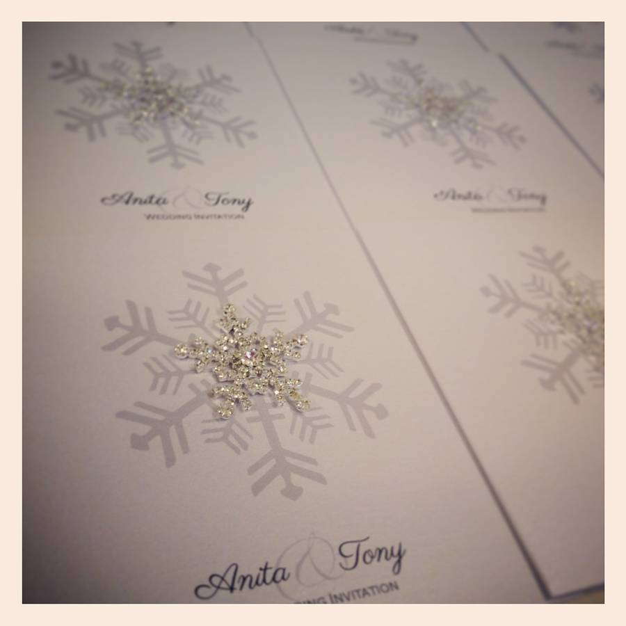 crystal snowflake wedding invitation by made with love designs ltd ...