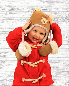 Personalised Sheepskin Hat & Mittens Gift Set - for under 5's