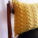 Handknit Chunky Cable Knit Cushion In Honey