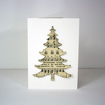 Vintage Music Christmas Tree Card