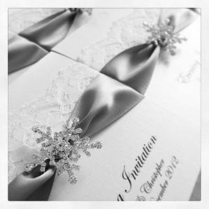 Snowflake Wedding Invitations 10 Pack - wedding stationery