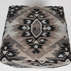 Aztec Bold Fabric Pouffe - living room