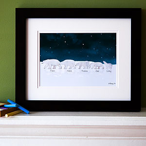 Personalised Family Polar Bear Picture