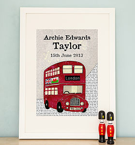 Personalised Birth Date Red Bus Print - prints & art