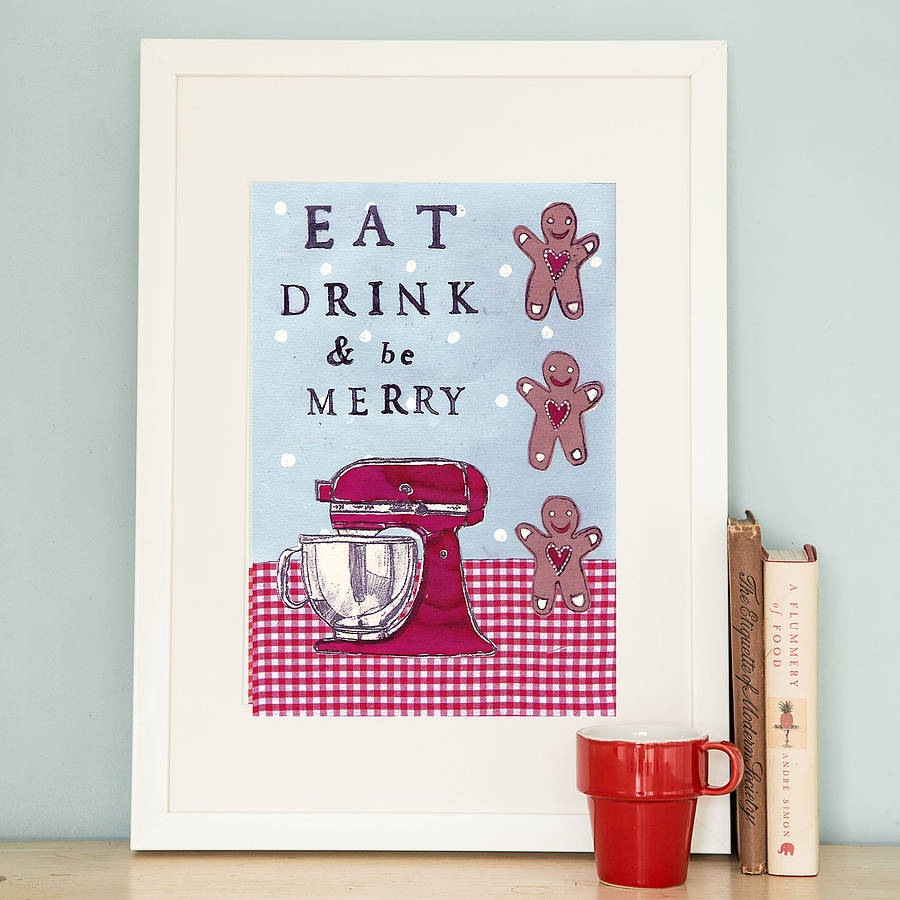 u0026 39 eat drink and be merry u0026 39  art print by helena tyce designs