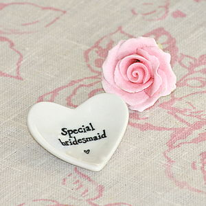 'Special Bridesmaid' Tiny Porcelain Heart - bedroom