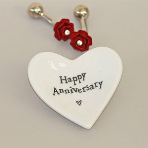 'Happy Anniversary' Tiny Porcelain Heart Dish - bedroom
